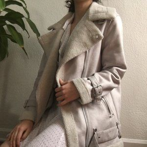 Urban Outfitters Faux Fur/Suede Aviator Jacket